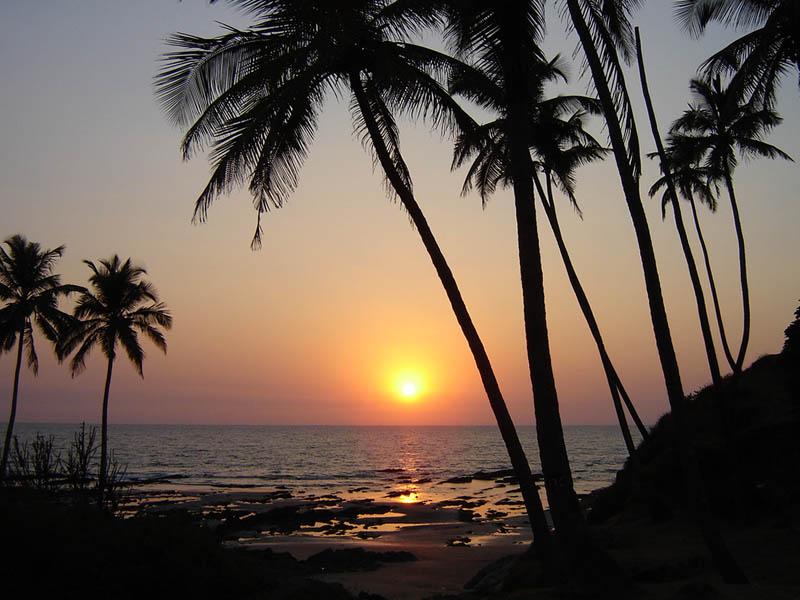 India, tramonto in Kerala.