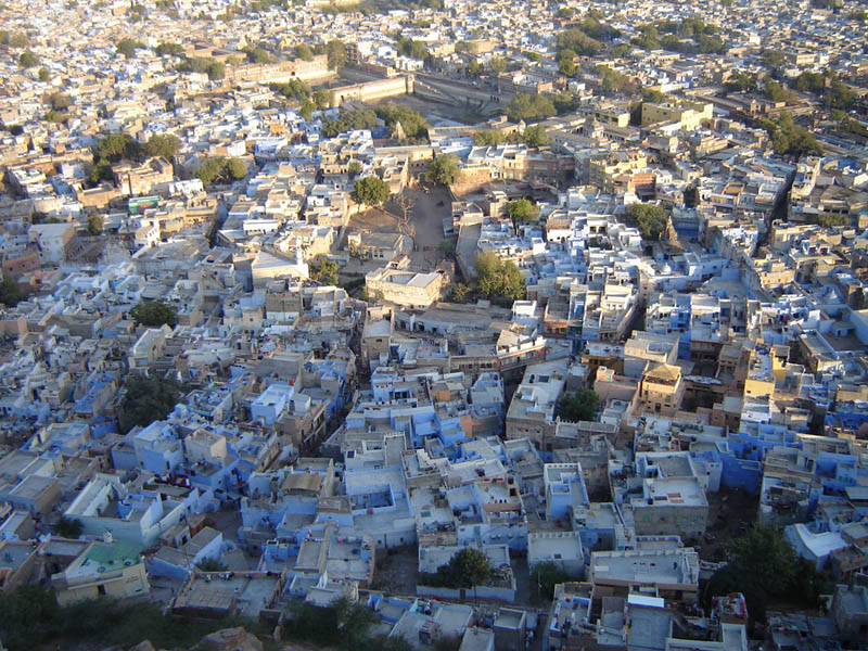 Jodhpur, veduta del Reticolo urbano dal Forte Meherangarh.