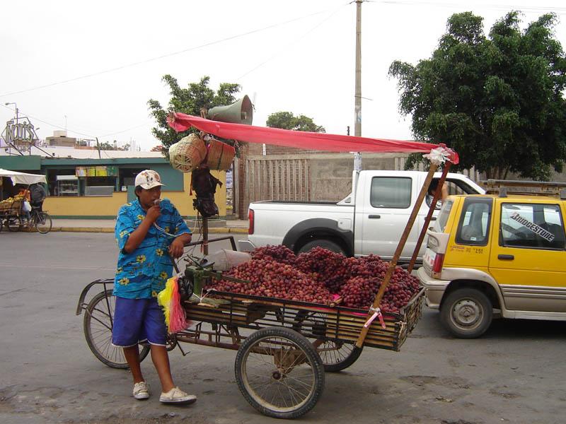 Perù, Nazca, venditore di uva