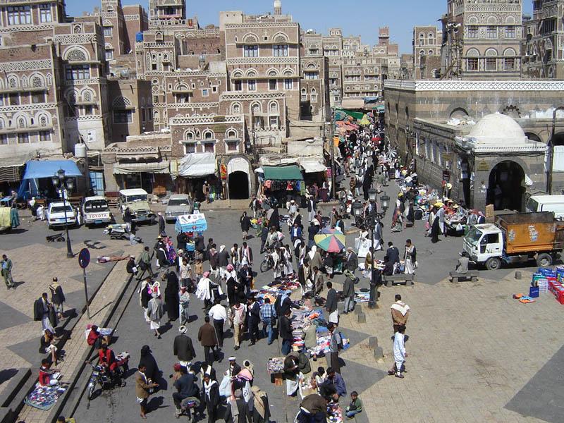 Sanaa, vista dalla porta di Bab al Yemen
