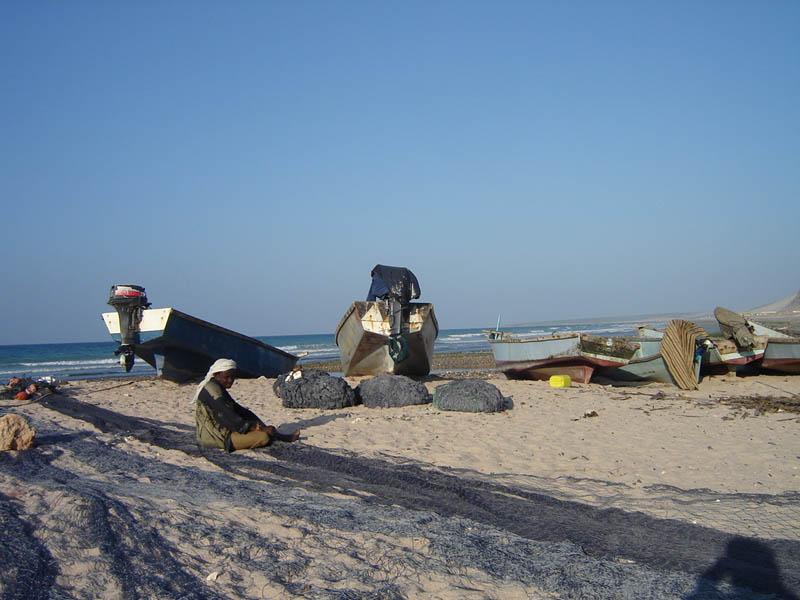 Reti da pesca sulla spiaggia